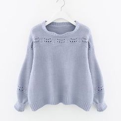Meimei - Perforated Lantern Sleeve Knit Top