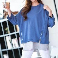 PEPER - 3/4-Sleeve Drop-Shoulder Zip-Detail T-Shirt