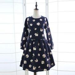 Reine - Floral Print Long Sleeve A-Line Dress