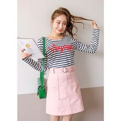 J-ANN - Lettering-Accent Striped Top