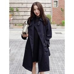 maybe-baby - Double-Breasted Trench Coat With Belt