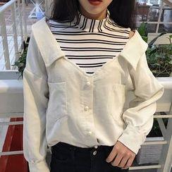 Cloud Nine - 條紋拼接假兩件燈芯絨襯衫