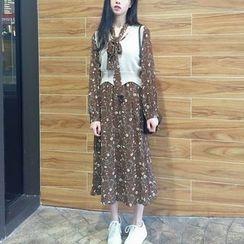 ALIN STYLE - Set: Floral Print Midi Chiffon Dress + Knit Vest