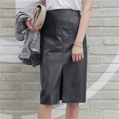 LIPHOP - Faux-Leather Slit-Front Pencil Midi Skirt