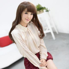59 Seconds - Crochet Collar Chiffon Blouse