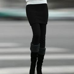 QLand - 連裙刷毛裡內搭褲