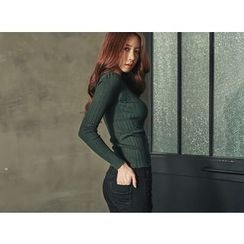 UUZONE - V-Neck Rib-Knit Top