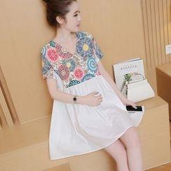 Mamaladies - Patterned Panel Maternity Dress
