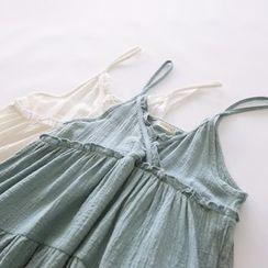 Bonbon - Strappy Linen Ruffle Dress