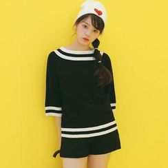 SUYISODA - Stripe 3/4-Sleeve Knit Top