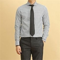 THE COVER - Wide-Collar Striped Shirt