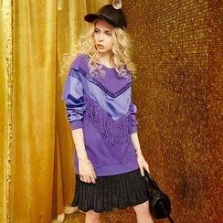 ELF SACK - Long-Sleeve Fringe-Trim Paneled Dress