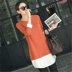 mayblue - Round-Neck Inset Shirt Top