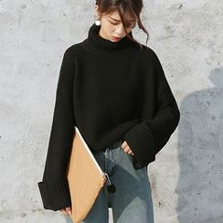 monroll - Mock Neck Chunky Knit Long Sweater