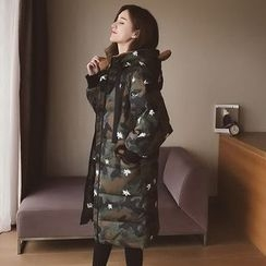 Cocofield - Hooded Camo Padded Coat
