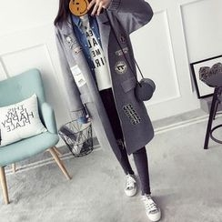 Qimi - Patch Embroidered Notch Lapel Long Knit Coat