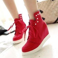 Tomma - 內增高結帶短靴