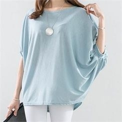PIPPIN - Round-Neck Dolman Elbow-Sleeve Top