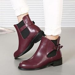 Mancienne - Faux-Leather Buckled Ankle Boots