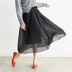 PEPER - Band-Waist Chiffon Skirt