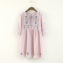蘭芝 - 長袖刺繡連衣裙
