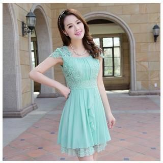 AiSun - Short Sleeve Crochet  Chiffon Dress