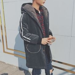 Besto - Hooded Corduroy Long Jacket