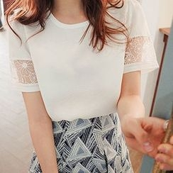 Only Eve - Lace Panel Short-Sleeve Chiffon Top