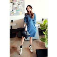 Momnuri - Maternity Half-Placket Denim Shift Dress