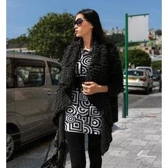 SO Central - Bouclé Knit Hanky Hem Open-Front Sweater