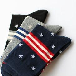 LIFEDIFF - Set of 3: Star Printed Socks