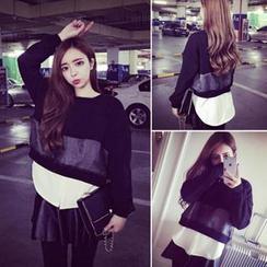 QZ Lady - Inset Shirt Sheer Panel Pullover