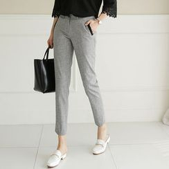 CLICK - Contrast-Trim Tapered Dress Pants