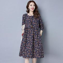 Epoch - Long-Sleeve Floral A-Line Midi Dress
