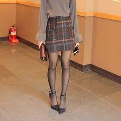 Cherryville - Button-Front Check Mini Skirt