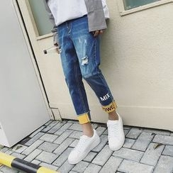 Danjieshi - Print Distressed Jeans