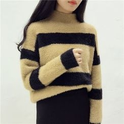 Octavia - Striped Mock Neck Thick Sweater