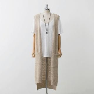 PEPER - Open-Front Lace-Trim Knit Long Vest