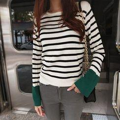 NIPONJJUYA - Contrast-Cuff Stripe Knit Top