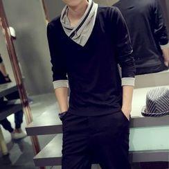 SICRIT - Ruched V-neck Long-Sleeve T-shirt