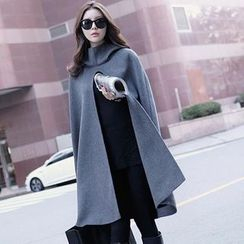 Lovebirds - Slit-Front Hooded Cape Top