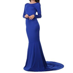 Noctiluca - Plain Long Sleeve Cross Back Evening Gown With Train