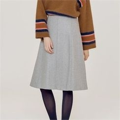 MAGJAY - Wool Blend Seam-Detail A-Line Skirt