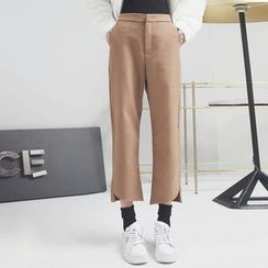 Sonne - Asymmetric-Hem Straight-Fit Cropped Wool Pants