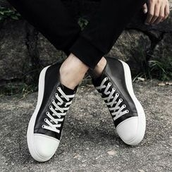 MARTUCCI - Genuine-Leather Lace-Up Sneakers