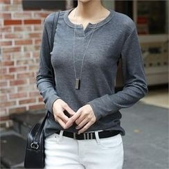 CHICFOX - Long-Sleeve Open-Placket T-Shirt