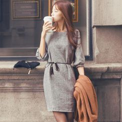 Tokyo Fashion - Puff-Sleeve Shift Dress with Cord