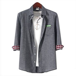 Seoul Homme - 3/4-Sleeve Check-Trim Shirt