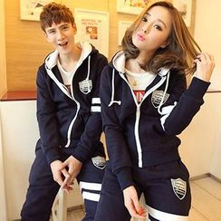 Lovebirds - Set: Couple Applique Hooded Zip Jacket + Contrast-Stripe Pants