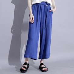Sonne - Wide-Leg Cropped Pants with Belt